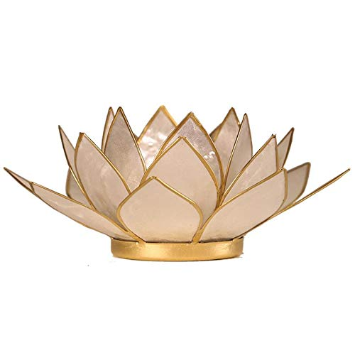Capiz Lotus Atmospherisches Licht Perlmutt Goldrand - 13.5 cm - 13.5 Ein Licht