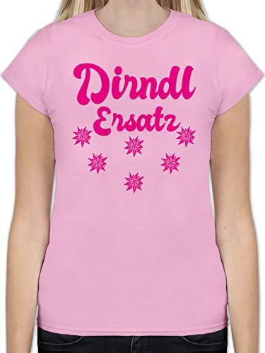Oktoberfest Damen - Dirndl Ersatz mit Edelweiß - Fuchsia - XXL - Rosa - L191 - Tailliertes Tshirt für Damen und Frauen T-Shirt