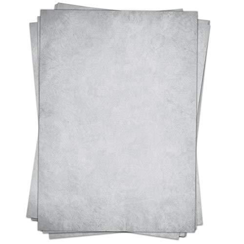 50 Blatt im Set: Briefpapier Altes Papier Vintage Grau - DIN A4 - beidseitig - Graues Papier edel (Graues Papier)