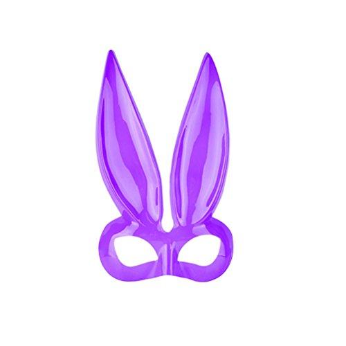 Lila Kostüm Häschen - Amosfun Lila Häschen Gesichtsmaske Maskerade Kaninchenohren Maske Halbes Gesicht für Karneval Cosplay Kostüm Party Ostern Zubehör