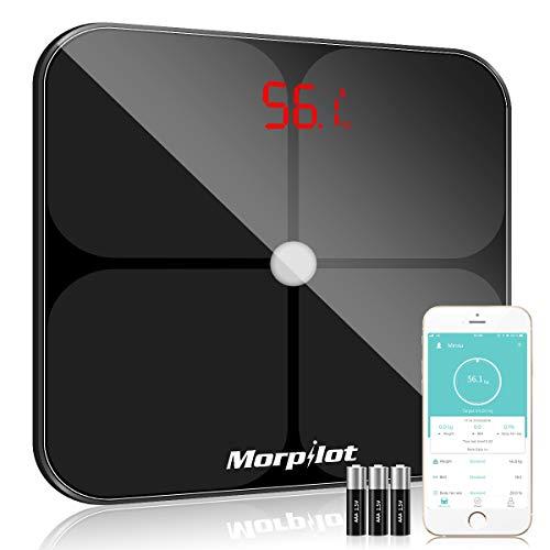 Körperfettwaage, morpilot Digitale Personenwaage/Smart Digitale Waage mit APP für Körperfett, BMI, Gewicht, Muskelmasse, Wasser, Protein, Skelettmuskel, Knochengewicht, BMR, usw.