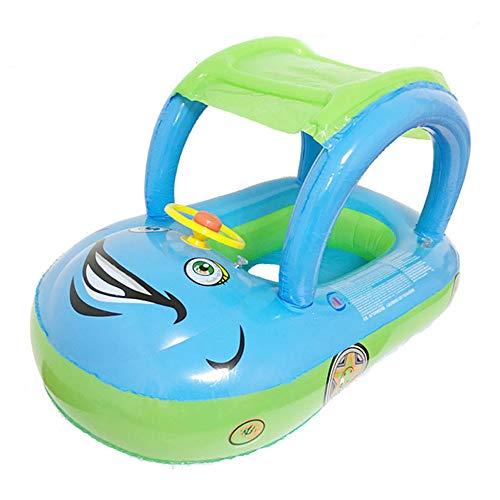 Dewanxin Baby Schwimmring Aufblasbarer Baby Schwimmen Bad Boot mit Baldachin Sonnenschutz Schwimmsitz Kinderboot Kinder Schwimmhilfe mit Sonnenschutz für Baby von 6 bis 30 Monaten (Hellblau)