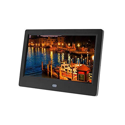 Marco de fotos digital, 1024 × 600 resolución Full IPS foto/música/reproductor de vídeo calendario despertador automático ON/OFF temporizador, diseño de interfaz de control remoto infrarrojo único
