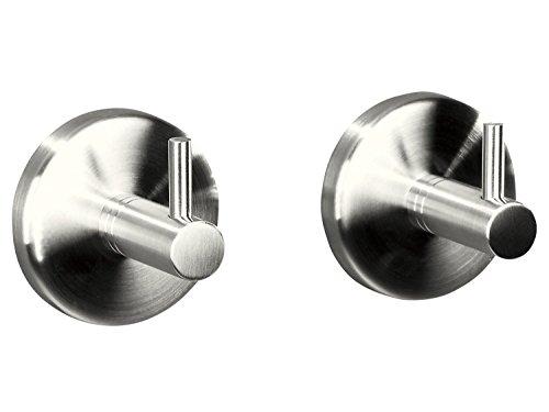 Golden Lutz® 2x Robuste Edelstahl Handtuchhaken - Kleben oder Schrauben -