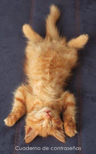 Cuaderno de contraseñas: Libro de registro de direcciones y contraseñas en internet - Cubierta de gatito pelirrojo relajado (Cuadernos para los amantes de los gatos)