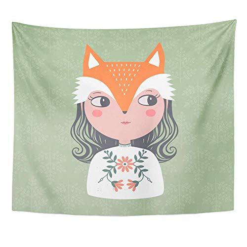 Mädchen Kostüm Fox - Gobelin Polyester Stoff Print Home Decor Bunte Tier niedliche Mädchen in Fox Kostüm grün Baby Wandbehang Gobelin für Wohnzimmer Schlafzimmer Wohnheim