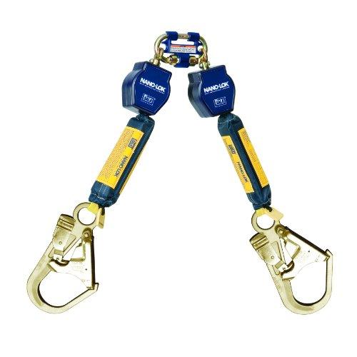 Preisvergleich Produktbild 3M DBI-SALA Nano-Lok 3101280 Twin Leg Self Retracting Lifeline,  6',  3 / 4 Dyneema Poly Web,  Steel Rebar Hooks,  Quick Connect Harness Mount, Navy / Yellow by 3M Fall Protection Business