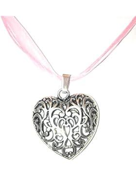 Trachtenschmuck Wiesn Oktoberfest Halskette Kette Trachtenherz antiksilberfarbe mit Organzaband rosa