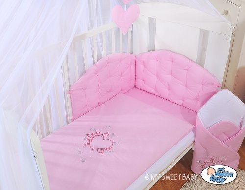 NEW My Sweet Baby pink baby bedding set with embroidered heart for your little one cot bed 140/70cm or cot 120/60cm (includes: cover x 2, bumper made of 3 pcs, big mosquito net / canopy / drape made of chiffon to cover all 4 sides of the bed, decorative bow & hearts) + drape holder (fits most types of cots and cot beds with ends/heads up to 4cm thick)