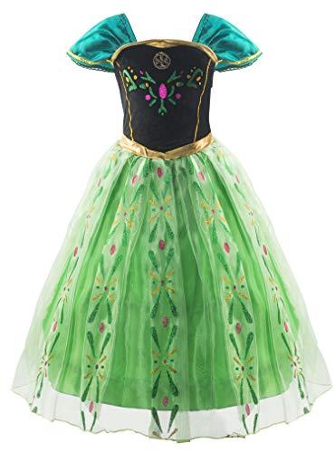 KABETY Mädchen Prinzessin Anna Kleid Schnee königin ELSA Kostüm Party Kleid,3 Jahre (Hersteller Größe:100) ,Grün