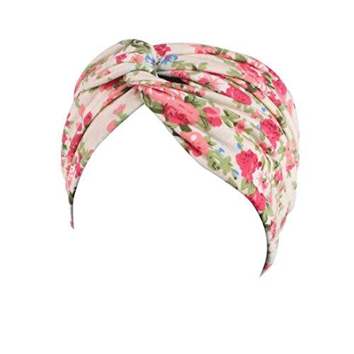 Muium New Garden Floral Sport Kopf Warp Frauen Damen Elastisches Haarband Stirnband (Beige)
