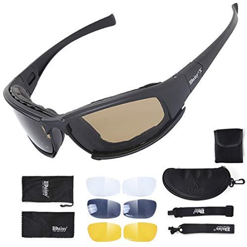 Kamiwwso Sanddichte Brille für Frauen Männer Unisex-Outdoor-Fahren Brille mit DREI Gläser Brillenstoff Set (Color : Black)