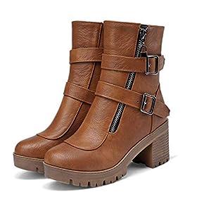 FMWLST Stiefel Frauen High Heels Reißverschluss Winter Damenschuhe Frauen Metall Schnalle Dicke Ferse Schuhe Warm Kurz Zu Halten