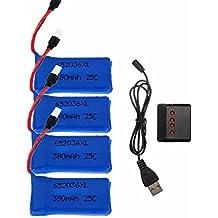 ELEGIANT 4 pcs Mejorado 25C 3.7V 380mAh Bateria drone con 1pc Cargador Para HUBSAN X4 H107 H107L H107C H107D V252 JXD 385 RC Quadcopter