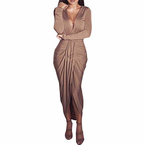 Mode feminine col en V Slim Paquet Hanches Robes manches longues Couleur de peau