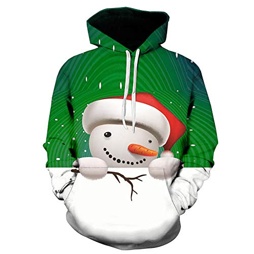 Price comparison product image Lazzgirl Mens 3D Printed Christmas Pullover Long Sleeve Hooded Sweatshirt Tops Blouse(Large,Green)