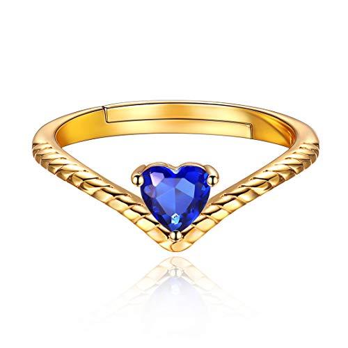 12 Monate Geburtstagsserie Sept. Blue Sapphire, Hochzeitsringe 925 Sterling Silber Rund Weiß Kristall Zirkonia CZ Band Ring ...