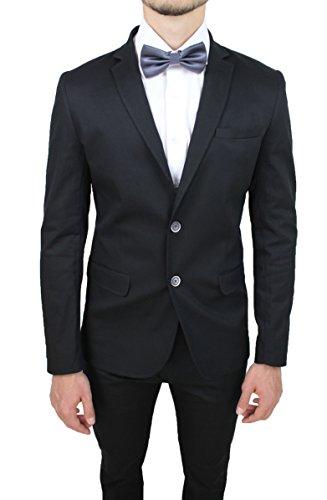 Abito completo uomo nero sartoriale casual elegante giacca con pantaloni in cotone