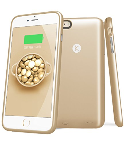 MTT® KUKE 16GB Built-In Memory 2400 mAh Extended Battery Slim Smart Case for Apple iPhone 6S Plus / 6 Plus - World First Unique Smart Case with Built-in 16GB Memory and Expandable 2400 mAh Battery (16GB, GOLD)