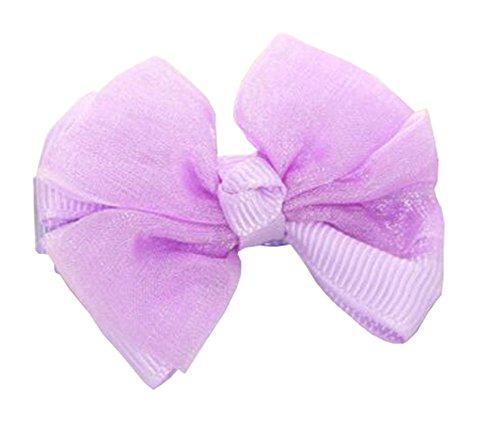 10PC mousseline violet pur bowknot pinces à cheveux pour les filles de bébé