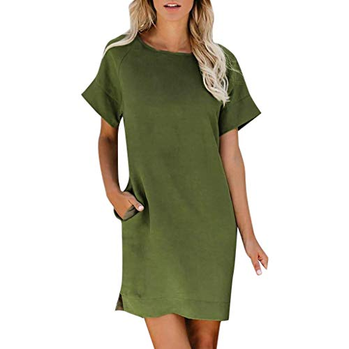 Embellished Neck Tee (Beaulies T-Shirt Dress Women Ladies Mini Dresses Summer Dress Short Sleeves Solid Dress Crew Neck Blouse Dresses Casual Plus Size Mini Summer Basic Dress Stretchy Baggy Plain Shirt Dress Black (Green))