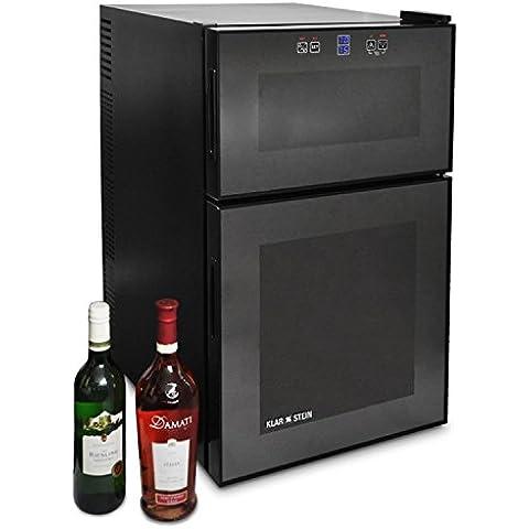 Klarstein Vinoteca (24 botellas, 68 litros, 2 compartimentos de refrigeración independiente, panel de control táctil, iluminación LED, funcionamiento silencioso) -