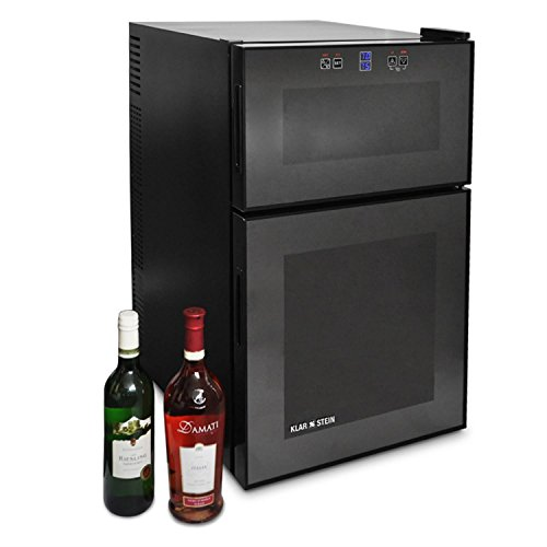 Klarstein MKS-3 • Weinkühlschrank • 2 Zonen • 8 bis 18°C • 24 Flaschen • 68 Liter • freistehend • Getränkekühlschrank • Touchpad-Steuerung • LCD-Display • 2-türig • schwarz