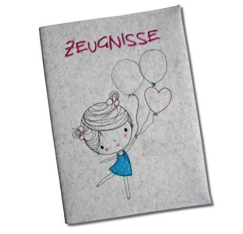 mappe mit Wollfilzumschlag - Mädchen mit Luftballons - 100% Wollfilz - Ohne Namen - ()
