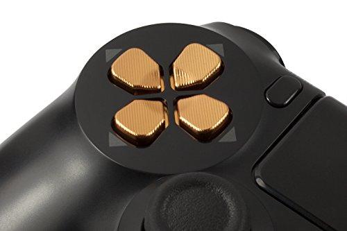 GAMINGER Pad Direccional de Aluminio D-Pad para Sony PlayStation 4 DualShock 4 Control de Consola Teclas Botones Accesorios para PS4 Custom Mod Caps Alu Tuning – ORO