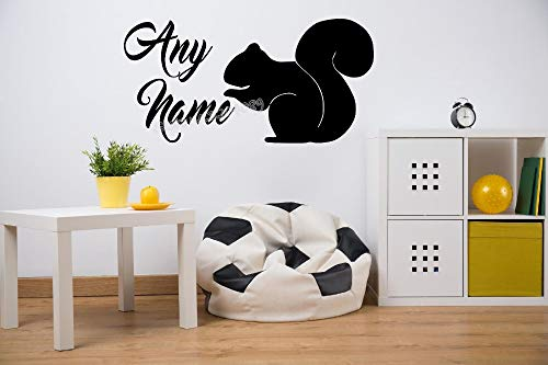 child wall stickers personalise Animals customize Any Name Decal Baby bedroom nursery Decor Art mural E 60cm x 30cm ()