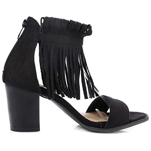 TAOFFEN Femmes Sandales Mode Bloc Talons Moyen Fermeture Eclair Bout Ouvert Chaussures De Frange Noir