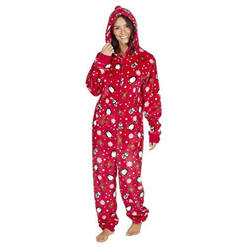 Onezee, tuta intera da adulti in pile, pigiama, motivo festivo red s / m