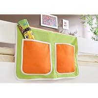 Preisvergleich für Hängetasche für Kinderbetten mit Farbauswahl, Vorhangstoff:Grün Orange