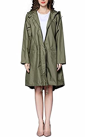 Awake Women's Classic Look Raincoat Hooded Waterproof Jacket
