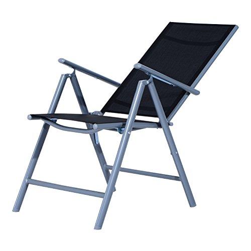 Outsunny Set Mobili da Giardino Tavolo con 6 Sedie Pieghevoli in Alluminio e Tessuto di Textilene - 7