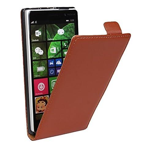 eximmobile Étui à rabat pour Microsoft/Nokia Housse étui modèles Nokia Lumia 1320 marron