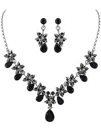 EVER FAITH® - Hibiscus Gotas de Lágrimas Cristal Austriaco Collar Pendientes Set Plata-Tono - Negro N03857-5