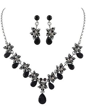 EVER FAITH® Hibiscus Tropfen österreichischen Kristall Halskette Ohrringe Set Silber-Ton - schwarz N03857-5