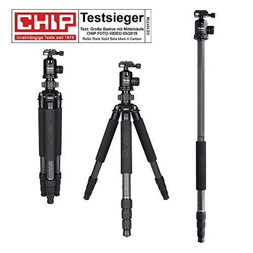 Rollei Rock Solid Beta Mark II inkl Kugelkopf T5S Carbon-Stativ - Kamera Stativ mit 25 KG Tragkraft, ideal für Reise und Naturfotografie - geeignet für Spiegelreflex-(DSLR) u. Systemkameras (DSLM) -