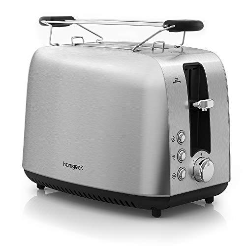 Homgeek Toaster, 2 Scheiben, Abnehmbarer Krümelschublade, 7 Bräunungsstufen und Abtau-Modus BPA Free, Rostfreier Stahl, 850 Watt