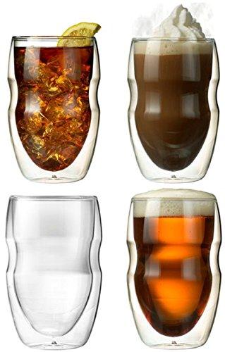 Ozeri DW12S-4 Doppelwandiges Thermoglas Serafino mit Schwebeeffekt Glas, Set 4 x 0,35 L