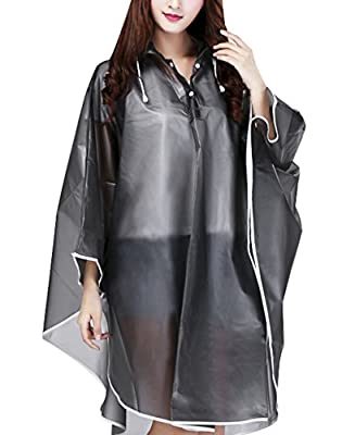 Jetai Women's Transparent Rain Poncho Raincoat Motorcycle Raincoat EVA Rain Jacket Waterproof Trench Coat Parka Raincoat Raincoat Raincape