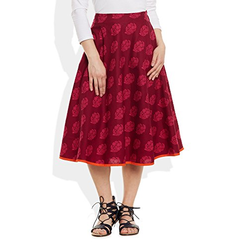 Damen Bekleidung Baumwolle gedruckt mittellanger Rock a-Linie Raspberry