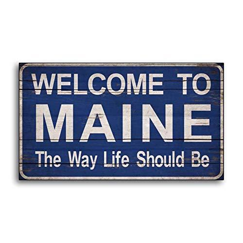 CELYCASY Welcome to Maine Willkommensschild aus Holz, rustikale Landschaftsschilder aus Holz, handgefertigt, Wanddekoration, Store Cottage Schilder -