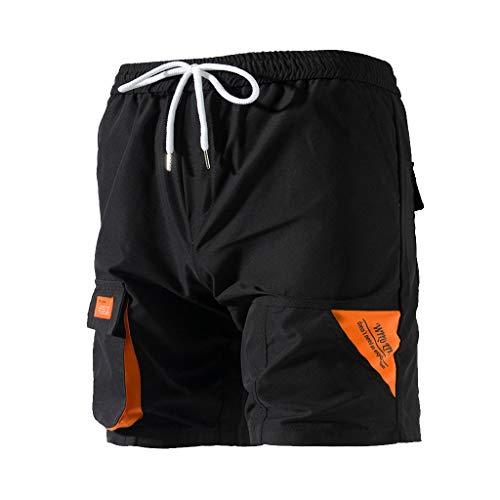 MOTOCO Herren Summer Shorts Lässige 3/4 Cargohose mit Baumwollgummibund Tunnelzug Gerade Lose Halbe Hose(4XL,Schwarz-4) Corduroy Cropped Pants