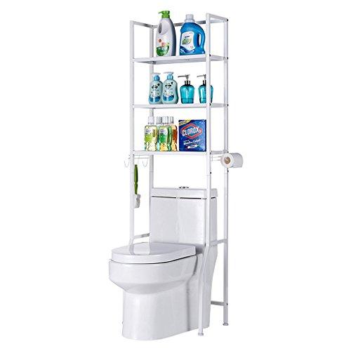 ZHEN GUO 3 Regal-Badezimmer-Raum-Retter über Toiletten-Zahnstangen-Badezimmer-Eckstand-Speicher-Organisator-Zusatz-Badezimmer-Kabinett-Turm-Regal-Metallkohlenstoffstahl (Farbe : Weiß) -