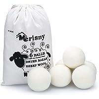 Palle Lana Asciugatrice, Palle Asciugatrice - Confezione da 6 - Ammorbidente naturale, riutilizzabile, riduce le rughe, risparmia tempo di asciugatura. Le palle antiaderenti per stendibiancheria in fe