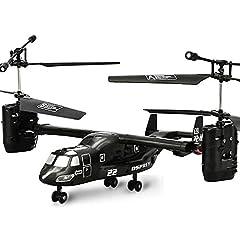 Idea Regalo - Pinjeer Elicottero di Ricarica RC U.S Airforce Osprey V22 2.4G Super Ruggedness Infrarossi I/R Telecomando Aereo Giocattoli elettronici educativi Regali per Bambini 8+ (Dimensione : S)