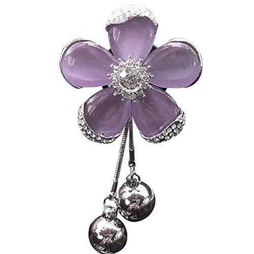 Auto Parfüm Lufterfrischer Clip Fünfblättrige Kristallblume Auto Klimaanlage Luftauslass Aromatherapie Clip Bohrer Seite Anhänger Silber Perlen pink -