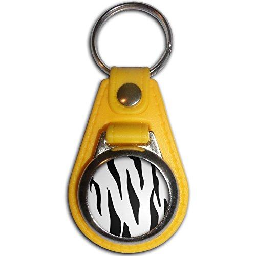 Zebra Print - Gelb Kunststoff / Metall-Medaillon Farbe Schlüsselanhänger